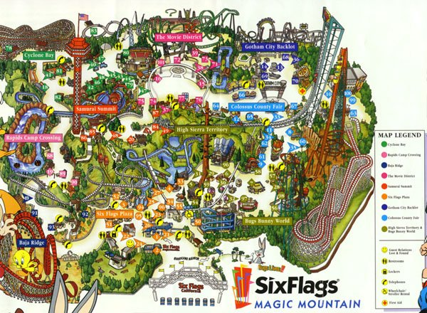 six flags magic mountain map park. six flags magic mountain map